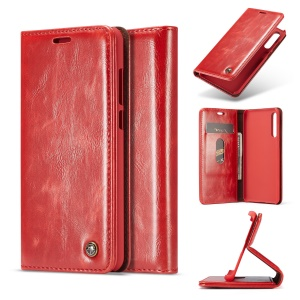 CASEME Oil Wax Crazy Horse Wallet Leather Phone Case for Huawei P20 Pro - Red