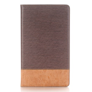 Bi-color Smart Stripe Leather Wallet Stand Casing for Huawei MediaPad M5 8 (8.4-inch) - Coffee