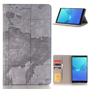 World Map Pattern Wallet Stand Leather Smart Case for Huawei MediaPad M5 8 (8.4-inch) - Grey