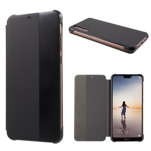 View Window Smart PU Leather Phone Case for Huawei P20 Pro - Black