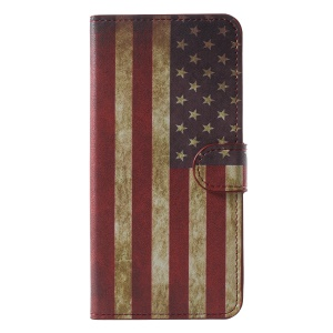 Pattern Printing Wallet Stand Leather Cover Shell for Huawei Honor 7C / Enjoy 8 - Vintage US Flag
