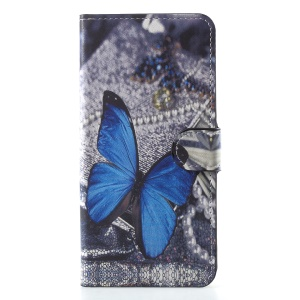 For Huawei Honor 7C / Enjoy 8 Pattern Printing Wallet Stand Leather Magnetic Cellphone Cover - Blue Butterfly