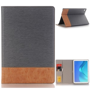 Bi-color Stripe Leather Wallet Stand Case for Huawei MediaPad M5 10/10 (Pro) - Grey