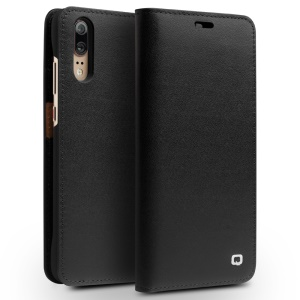 QIALINO Classic Gen II Cowhide Genuine Leather Wallet Mobile Case for Huawei P20 - Black