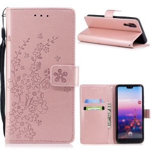 Imprint Flower Wallet Leather Stand Case for Huawei P20 - Rose Gold