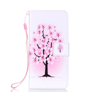 Patterned Leather Wallet Stand Case with Lanyard for Huawei P20 - Plum Blossom