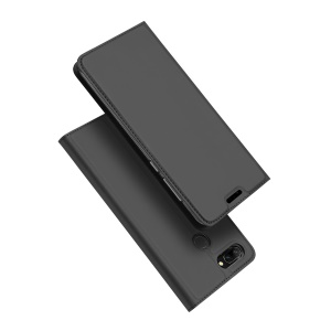 DUX DUCIS Skin Pro Series Card Holder Stand Leather Mobile Case for Huawei Honor 9i (2018) 5.84-inch / Honor 9N (India) - Dark Grey