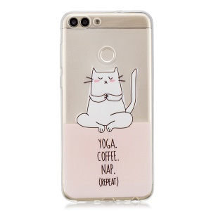 Printing Pattern TPU Phone Accessory Case for Huawei P Smart/Enjoy 7S - Yoga Coffee Nap