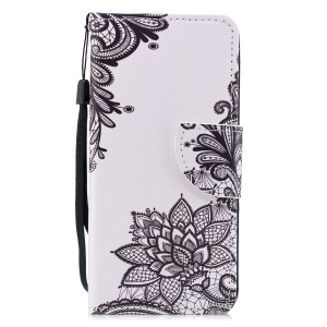 Cross Texture Pattern Printing Wallet Stand Leather Mobile Casing for Huawei P20 Lite/Nova 3e - Black Flowers