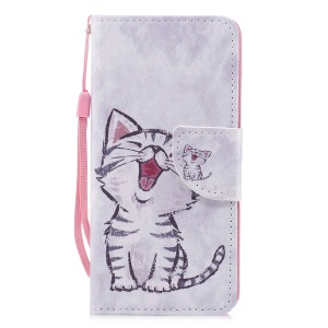 Cross Texture Pattern Printing Wallet Stand Leather Cell Phone Shell for Huawei P20 Lite/Nova 3e - Laughing Cat