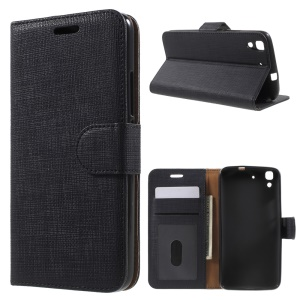 Seamless Plaid Leather Wallet Case Stand for Huawei Honor 4A / Y6 - Black