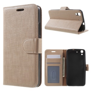 Seamless Plaid Wallet  Leather Case for Huawei Honor 4A / Y6 - Champagne