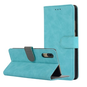 Vintage Style Crazy Horse Leather Stand Wallet Casing for Huawei P20 - Blue