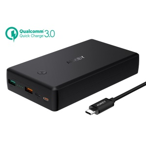 AUKEY PB-Y7 30000mAh Portable USB-C Quick Charge 3.0 Power Bank with Power Deliver