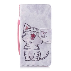 Pattern Printing PU Leather Wallet Case for Huawei Honor 7C / Enjoy 8 / Y7 Prime (2018) - Cat Pattern