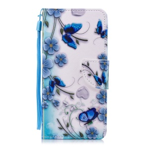Pattern Printing Magnetic Leather Stand Cover for Huawei Honor 7C / Enjoy 8 / Y7 Prime (2018) - Blue Flowers