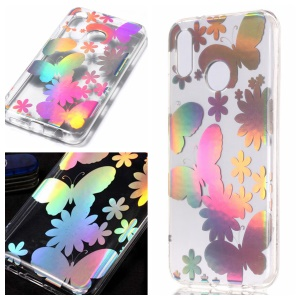 Colorful Laser Carving Patterned TPU Protection Case for Huawei P20 Lite/Nova 3e (China) - Butterflies and Flower