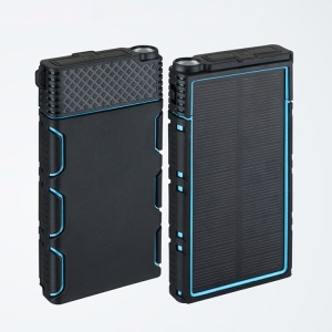 Outdoor Waterproof/Shockproof/Dust-proof Dual USB 10000mAh Solar Power Bank with Flashlight for Smartphones Tablets - Green