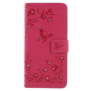 Imprint Butterfly Flower Rhinestone Decor Leather Protective Case Cover for Huawei P20 Pro - Rose