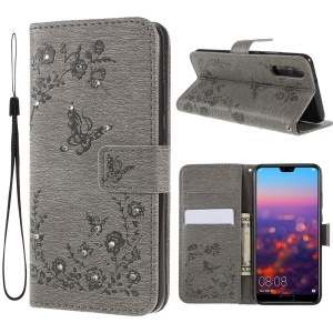Imprint Butterfly Flower Rhinestone Decor Leather Mobile Protective Case for Huawei P20 - Grey