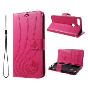 Imprint Butterfly Heart Leather Wallet Case for Huawei P Smart/Enjoy 7S - Rose