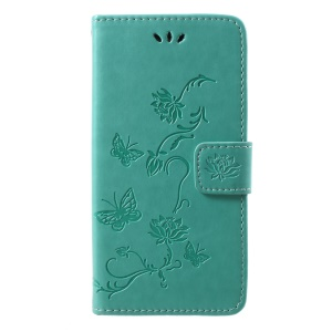 Imprint Butterfly Flowers Wallet Leather Stand Case for Huawei Honor 10 - Green