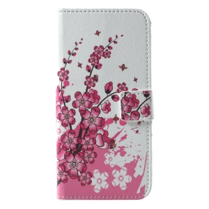 Pattern Printing Wallet Stand Leather Case Accessory for Huawei Honor 10 - Plum Blossom