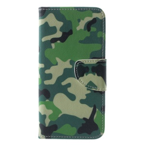 Pattern Printing Wallet Stand Flip Leather Phone Case for Huawei Honor 10 - Camouflage