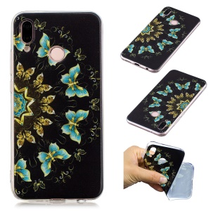 Pattern Printing Soft TPU Mobile Phone Shell for Huawei P20 Lite/Nova 3e (China) - Gold and Blue Butterflies