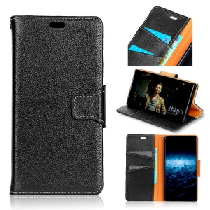 Litchi Skin Genuine Leather Magnetic Wallet Phone Cover for Huawei Honor 10 - Black