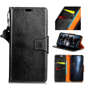 Crazy Horse Genuine Leather Magnetic Wallet Phone Shell for Huawei Honor 10 - Black