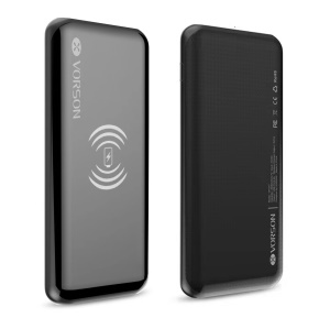 VP-017 Portable Qi Wireless Charger 8000mAh LED Digital Display Mobile Power Bank Charger for iPhone X, Samsung Note 8 etc. - Black