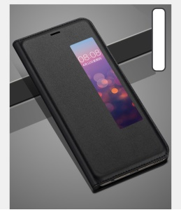 View Window PU Leather Phone Case for Huawei P20 - Black