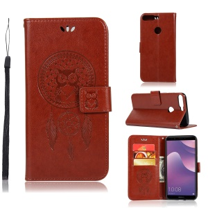 Imprinted Dream Catcher Owl Stand Leather Wallet Case for Huawei Y7 (2018) - Brown