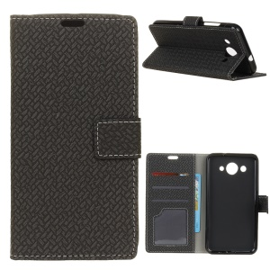Woven Texture Wallet Magnetic Leather Mobile Casing for Huawei Y3 (2018)/Y3 (2017) - Black