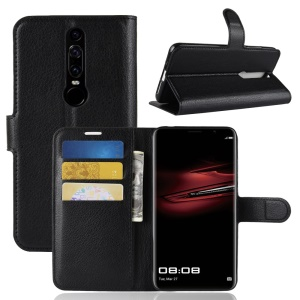 Litchi Skin Wallet Leather Stand Case for Huawei Mate RS Porsche Design - Black