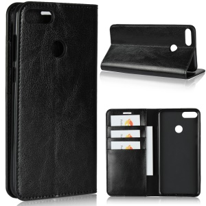 Crazy Horse Texture Genuine Leather Wallet Stand Mobile Cover for Huawei Enjoy 8 Plus - Black