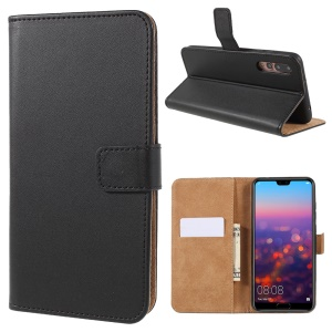 PU Leather Magnetic Wallet Cell Phone Cover with Stand for Huawei P20 Pro - Black