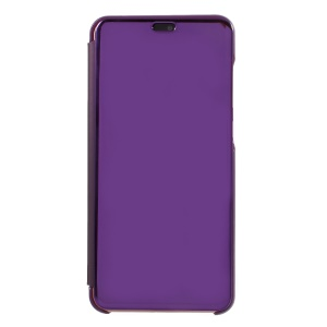 For Huawei P20 Pro Plated Mirror Surface Leather Stand Folio Protective Mobile Case - Dark Purple
