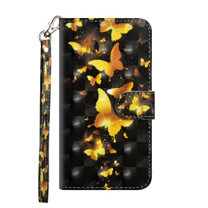 Pattern Printing Wallet Stand Leather Flip Case for Huawei Honor 10 - Gold Butterfly