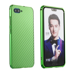 Electroplated Aluminum Alloy Bumper + Carbon Fiber PC Back Panel Slide-on Mobile Phone Case for Huawei Honor 10 - Green