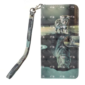 Pattern Printing PU Leather Wallet Case for Huawei Y6 (2018)/Honor 7A (without Fingerprint Sensor) - Cat Pattern