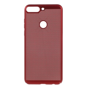 Rubberized Hollow Mesh Heat Dissipation PC Cover for Huawei Enjoy 8/Honor 7C /Y7 Prime (2018) - Red