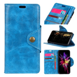 Leather Stand Case with Card Slots for Huawei Honor 9i (2018) 5.84-inch - Blue