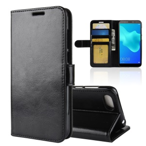 Crazy Horse Wallet Leather Mobile Phone Shell for Huawei Y5 Prime (2018) - Black