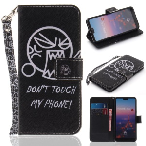 Patterned Leather Wallet Mobile Phone Case for Huawei P20 - Do not Touch My Phone