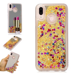 Floating Glitter Sequins Quicksand Mirror Surface TPU Cellphone Case Cover for Huawei P20 Lite / Nova 3e (China) - Gold