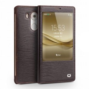 QIALINO for Huawei Mate 8 Lizard Skin Smart View Genuine Leather Case - Brown