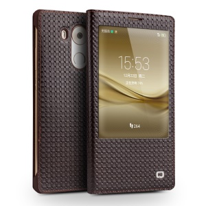 QIALINO Grid Smart Genuine Leather Window Case for Huawei Ascend Mate8 - Brown