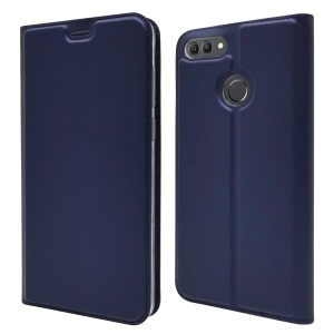 Auto-absorbed Stand Leather Card Holder Mobile Phone Case for Huawei Y9 (2018)/Enjoy 8 Plus - Dark Blue